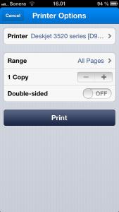 Airprint-tulostaminen iPhonella